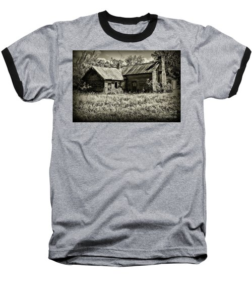 Little Red Farmhouse In Black And White Baseball T-Shirt by Paul Ward