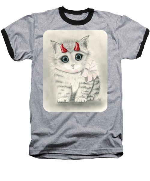 Baseball T-Shirt featuring the drawing Little Red Horns - Cute Devil Kitten by Carrie Hawks