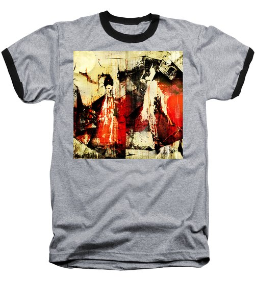 Little Red Riding Hood And The Big Bad Wolf Under A Yellow Moon Baseball T-Shirt by Jeff Burgess