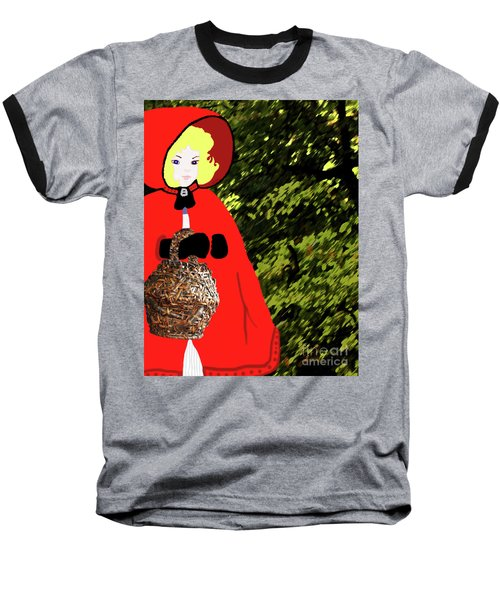 Little Red Riding Hood In The Forest Baseball T-Shirt by Marian Cates