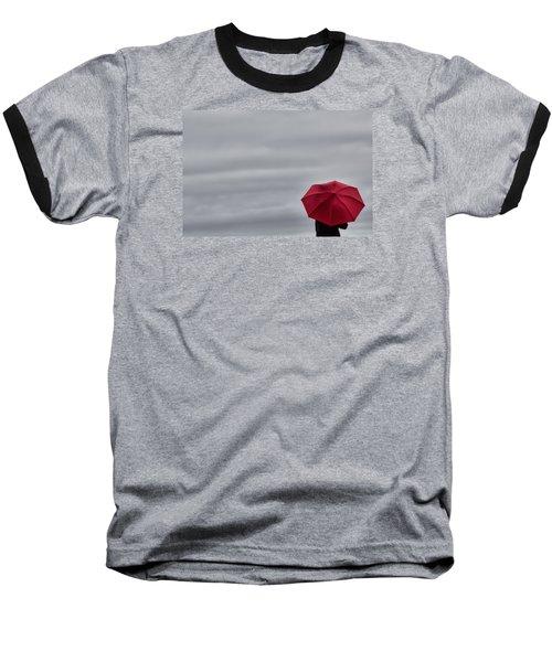 Little Red Umbrella In A Big Universe Baseball T-Shirt by Don Schwartz