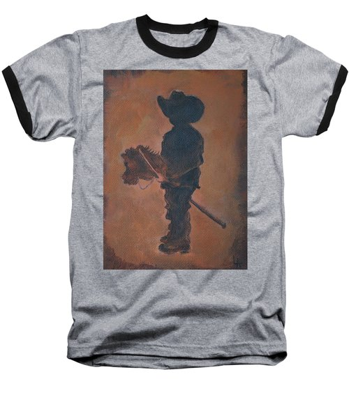 Baseball T-Shirt featuring the painting Little Rider by Leslie Allen
