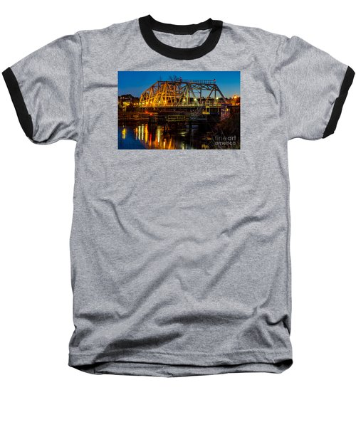 Little River Swing Bridge Baseball T-Shirt by David Smith