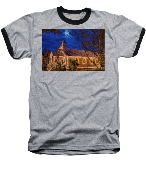Little Village Church With Star From Heaven Above The Steeple Baseball T-Shirt by Bonnie Barry