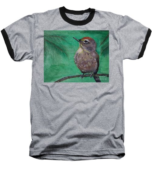 Baseball T-Shirt featuring the painting Little Warbler by Leslie Allen