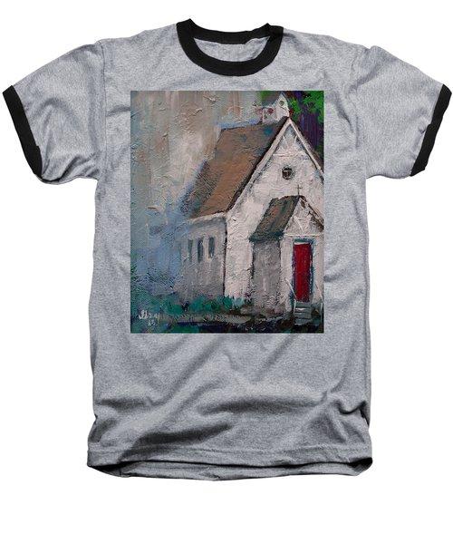 Little White Church On The Corner Christian Painting  Baseball T-Shirt