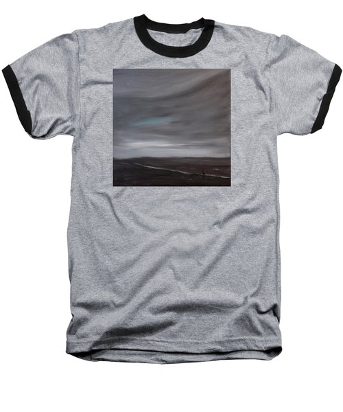 Baseball T-Shirt featuring the painting Little Woman In Large Landscape by Tone Aanderaa