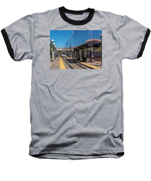 Baseball T-Shirt featuring the photograph Littleton Rtd Light Rail Station by Stephen  Johnson