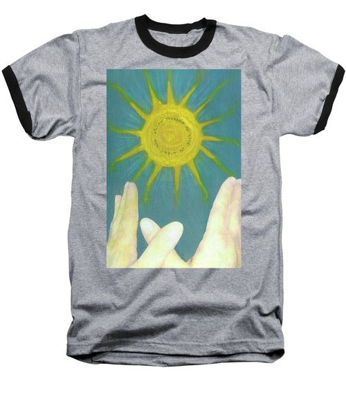 Baseball T-Shirt featuring the mixed media Live In Light by Desiree Paquette