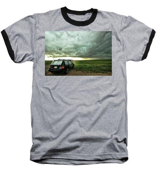 Living Saskatchewan Sky Baseball T-Shirt by Ryan Crouse