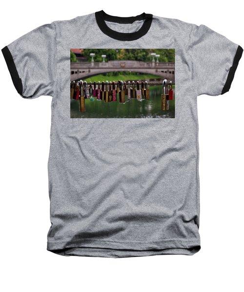 Baseball T-Shirt featuring the photograph Ljubljana Love Locks - Slovenia  by Stuart Litoff