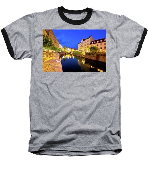 Ljubljanica River Waterfront In Ljubljana Evening View Baseball T-Shirt