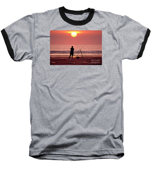 Llangennith Fishing At Sundown Baseball T-Shirt