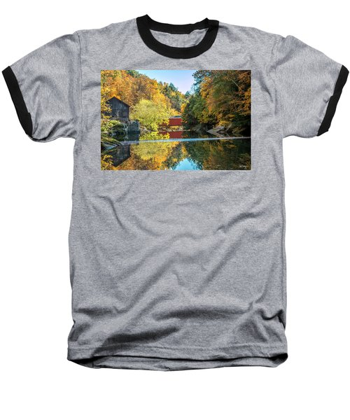 Baseball T-Shirt featuring the photograph Mcconnell's Mill And Covered Bridge by Skip Tribby