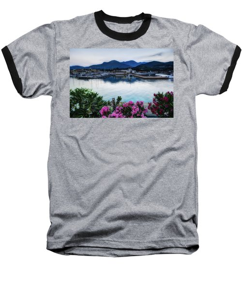 Loano Sunset Over Sea And Mountains With Flowers Baseball T-Shirt