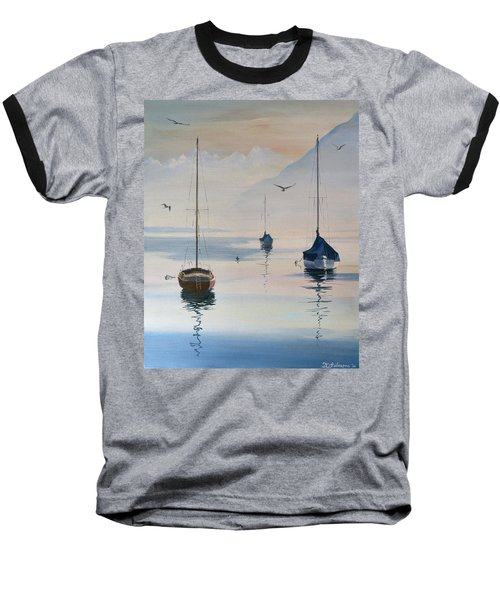 Locarno Boats In February-2 Baseball T-Shirt by David Gilmore