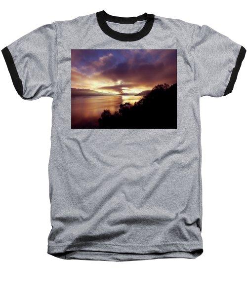 Loch Ness Winter Sunset Baseball T-Shirt