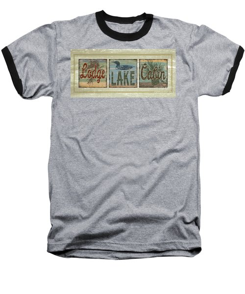 Baseball T-Shirt featuring the painting Lodge Lake Cabin Sign by Joe Low