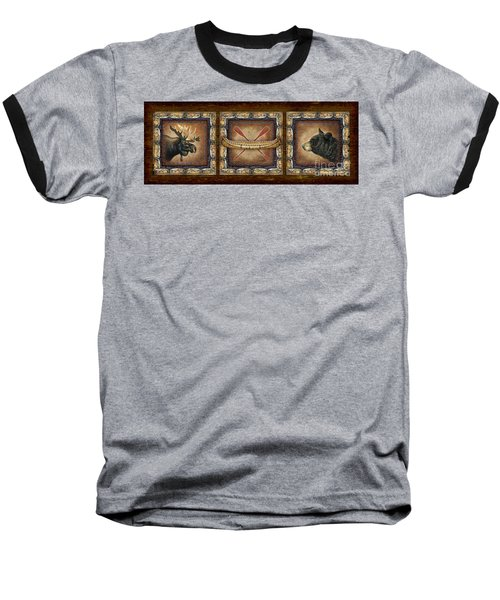 Baseball T-Shirt featuring the painting Lodge Panel by Joe Low
