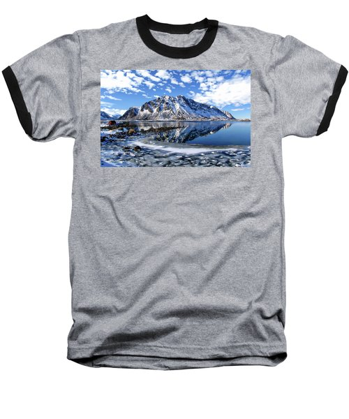 Lofoten Winter Scene Baseball T-Shirt