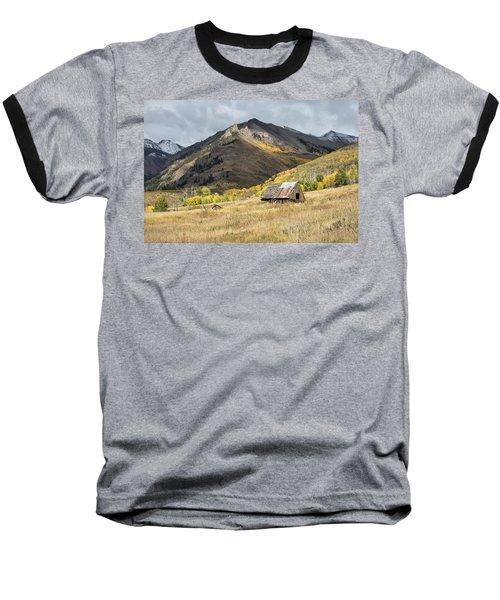 Log Barn In The Mountains Baseball T-Shirt