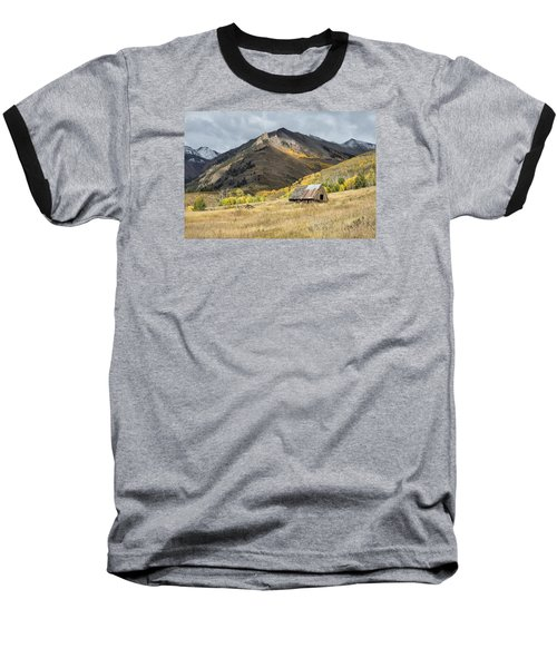 Log Barn In The Mountains Baseball T-Shirt
