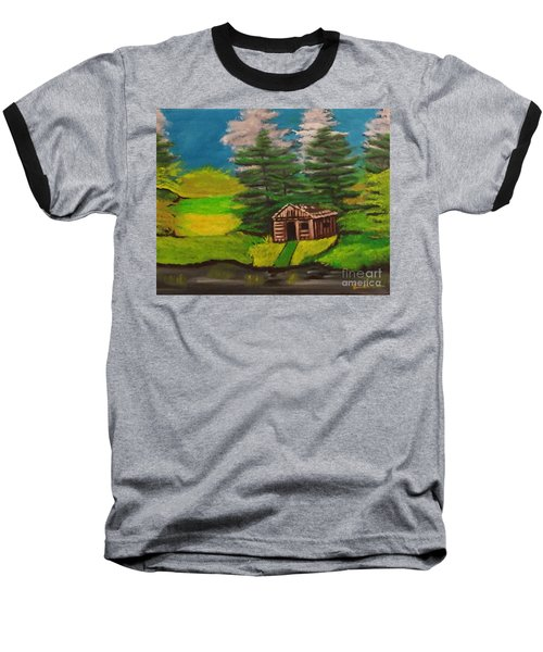 Log Cabin Baseball T-Shirt by Brindha Naveen