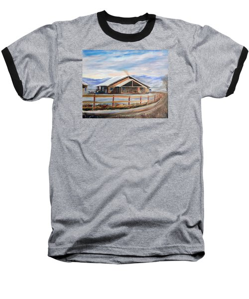 Baseball T-Shirt featuring the painting Log Cabin House In Winter by Sherril Porter