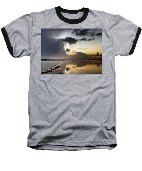 Log Pointing To Sunset Baseball T-Shirt by Greg Nyquist