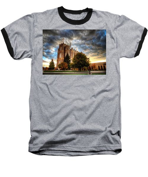 Logan Temple Cloud Backdrop Baseball T-Shirt
