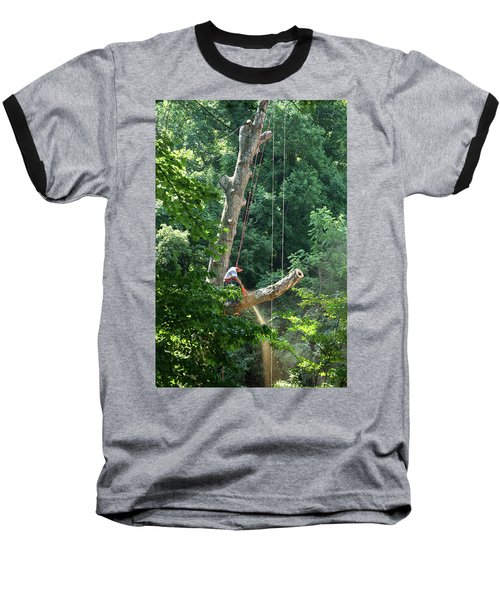Baseball T-Shirt featuring the photograph Logger Cutting Down Large, Tall Tree by Emanuel Tanjala