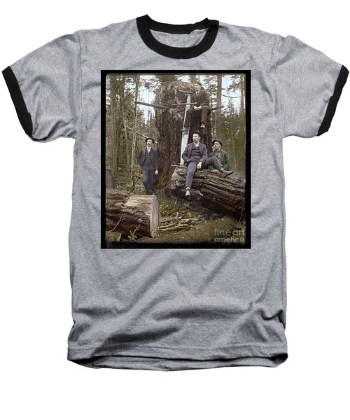 Baseball T-Shirt featuring the photograph Loggers Sunday Best 1911 by Martin Konopacki Restoration