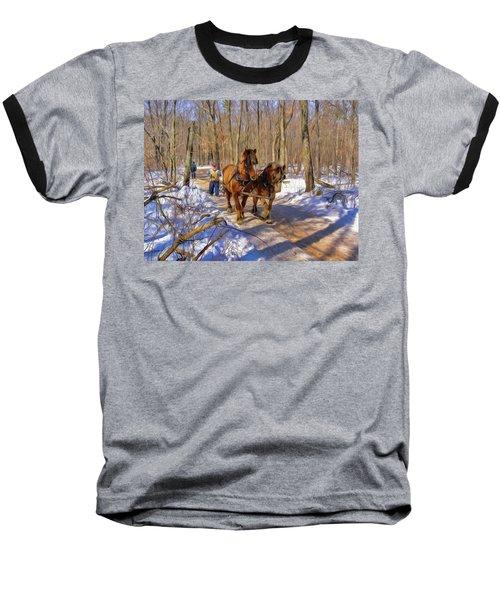 Logging Horses 1 Baseball T-Shirt