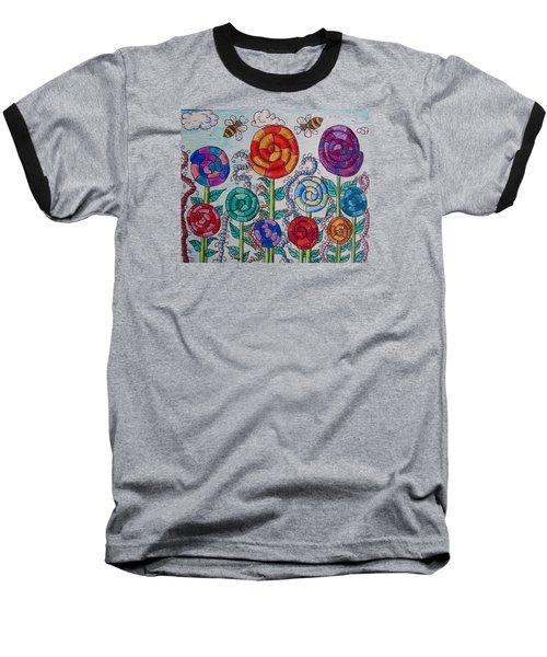 Lollipop Garden Baseball T-Shirt by Megan Walsh