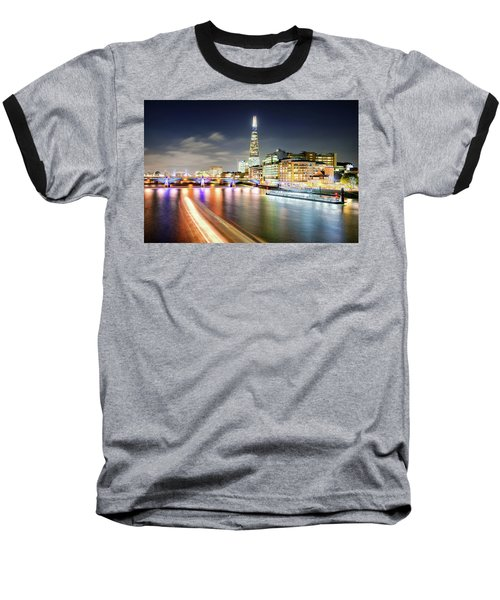 London At Night With Urban Architecture, Amazing Skyscraper And Boat At Thames River, United Kingdom Baseball T-Shirt