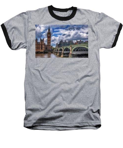 Baseball T-Shirt featuring the painting London Big Ben by David Dehner