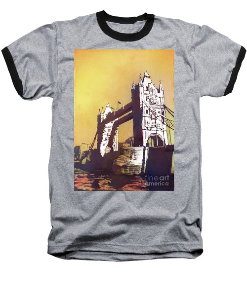 Baseball T-Shirt featuring the painting London Bridge- Uk by Ryan Fox