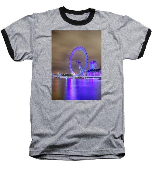 London Cityscape At Night 5x7 Baseball T-Shirt