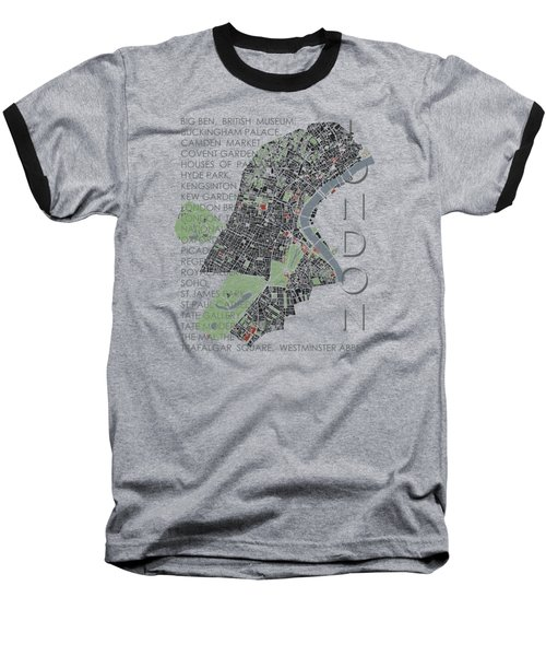 London Classic Map Baseball T-Shirt