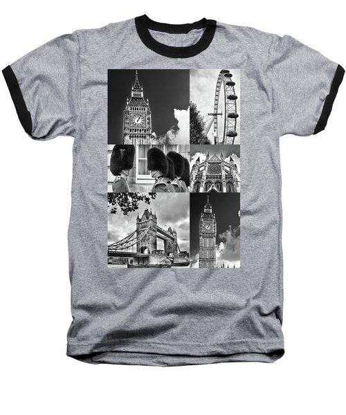 London Collage Bw Baseball T-Shirt