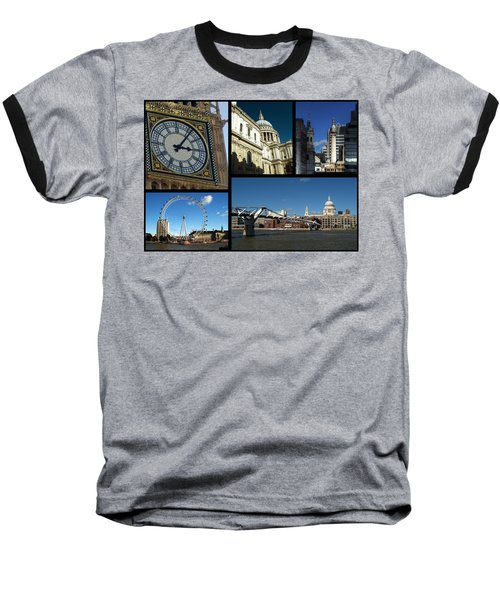 London Collage Baseball T-Shirt