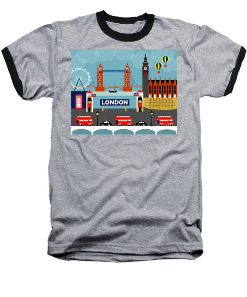 London England Horizontal Scene - Collage Baseball T-Shirt by Karen Young