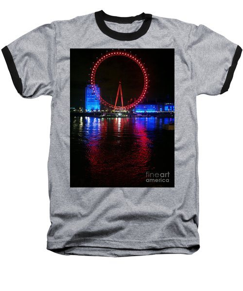 Baseball T-Shirt featuring the photograph London Eye At Night by Hanza Turgul