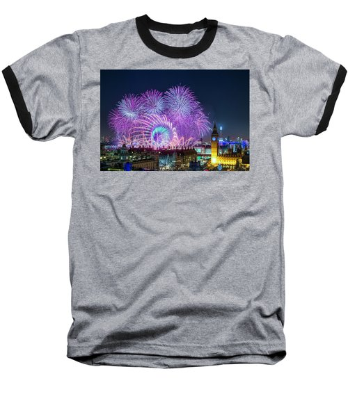 London New Year Fireworks Display Baseball T-Shirt