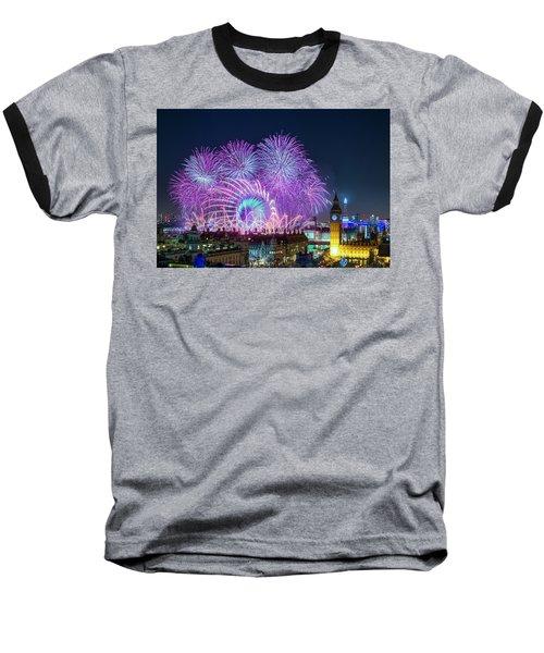 London New Year Fireworks Display Baseball T-Shirt