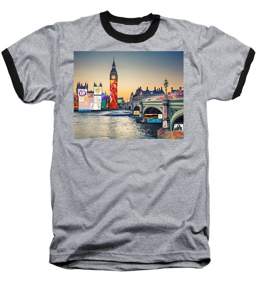 London Skyline Collage 3 Inc Big Ben, Westminster  Baseball T-Shirt