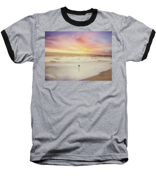 Lone Bird At Sunset Baseball T-Shirt