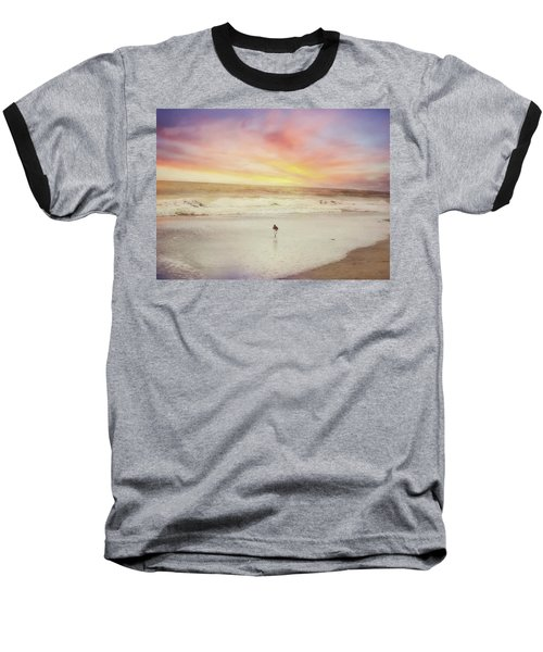 Lone Bird At Sunset Baseball T-Shirt