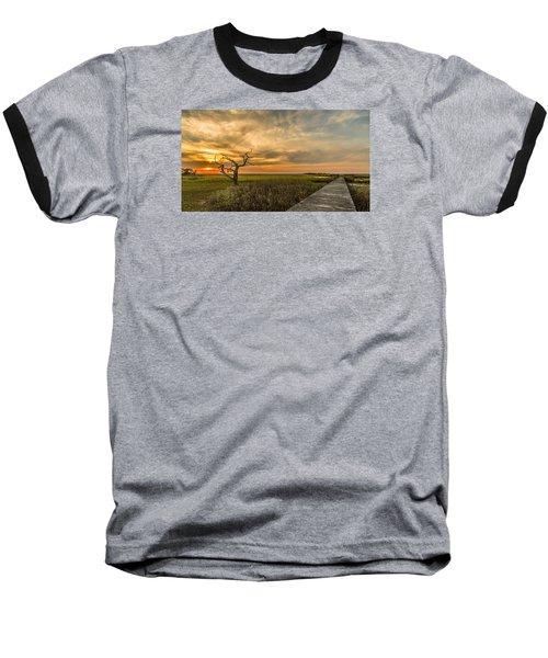 Lone Cedar Dock Sunset - Dewees Island Baseball T-Shirt