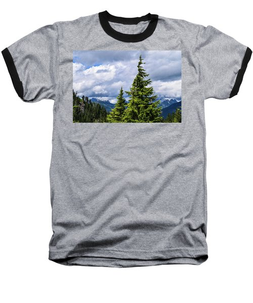 Lone Fir With Clouds Baseball T-Shirt